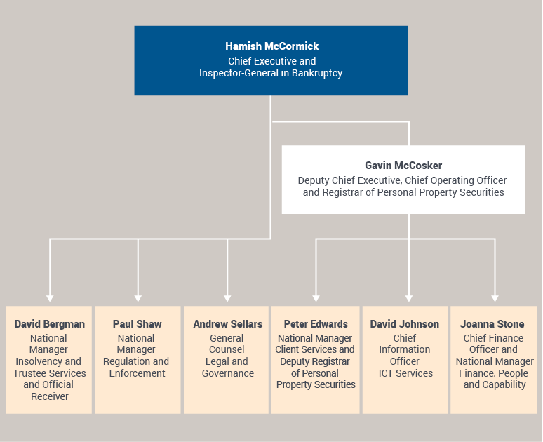 Figure 1: Chart of AFSA's senior executive at 30 June 2018: Hamish McCormick, Chief Executive and Inspector-General in Bankruptcy; Gavin McCosker, Deputy Chief Executive, Chief Operating Officer and Registrar of Personal Property Securities; David Bergman