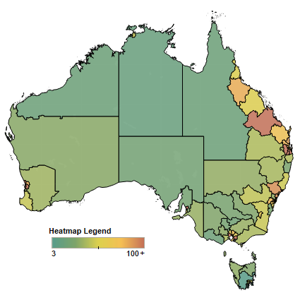 Heatmap of insolvencies in Australia